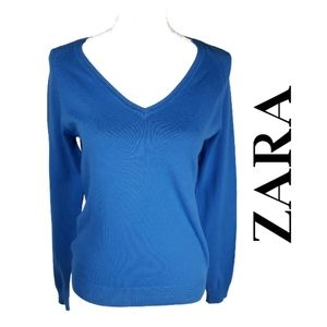 BOGO Zara V-Neck Blue Cotton Blend Sweater